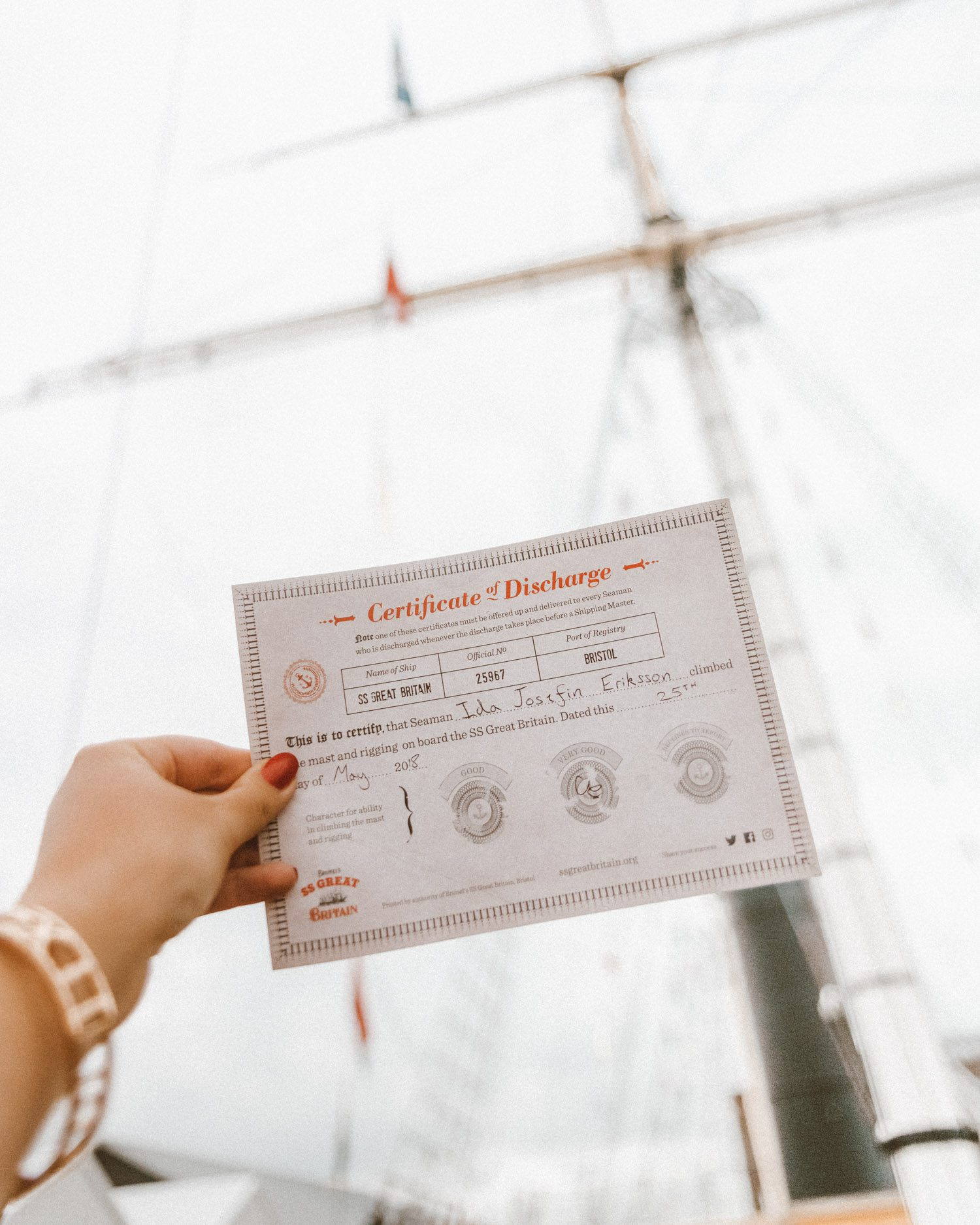 Certificate of Discharge | SS Great Britain