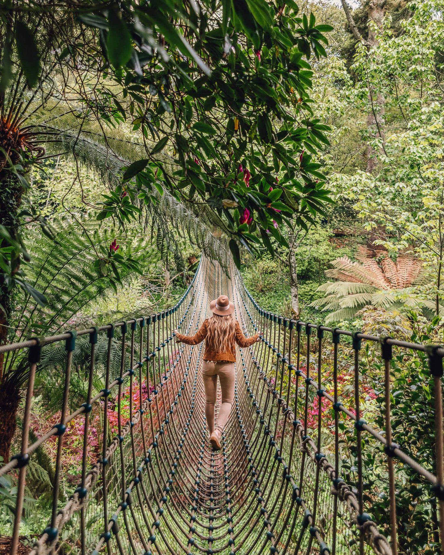 Burma Rope Bridge in The Lost Gardens of Heligan | Most Instagrammable Places in Cornwall, UK