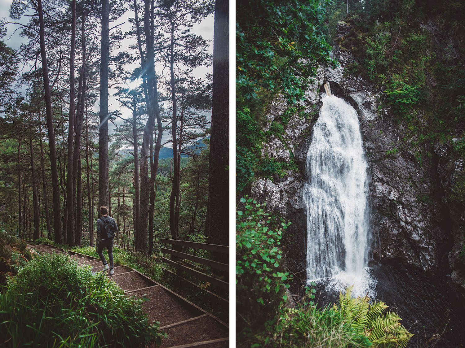 Man walking in the Scottish wood + Fall of Foyers