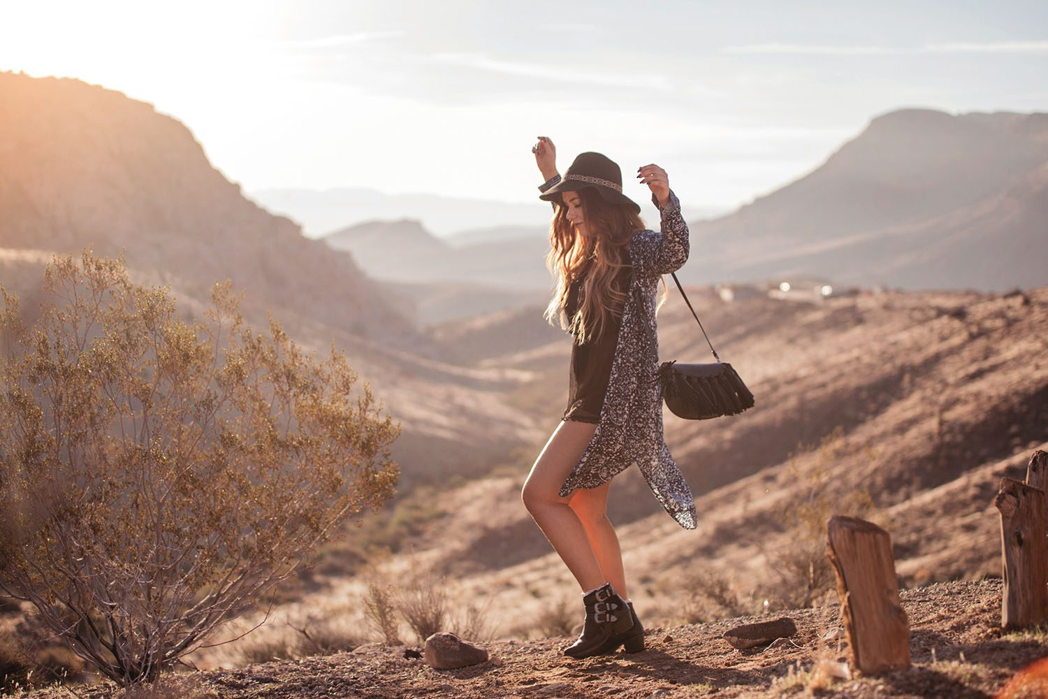 Boho Outfit in Red Rock Canyon Sunrise - Dress, Boots, Hat & Fringe Bag