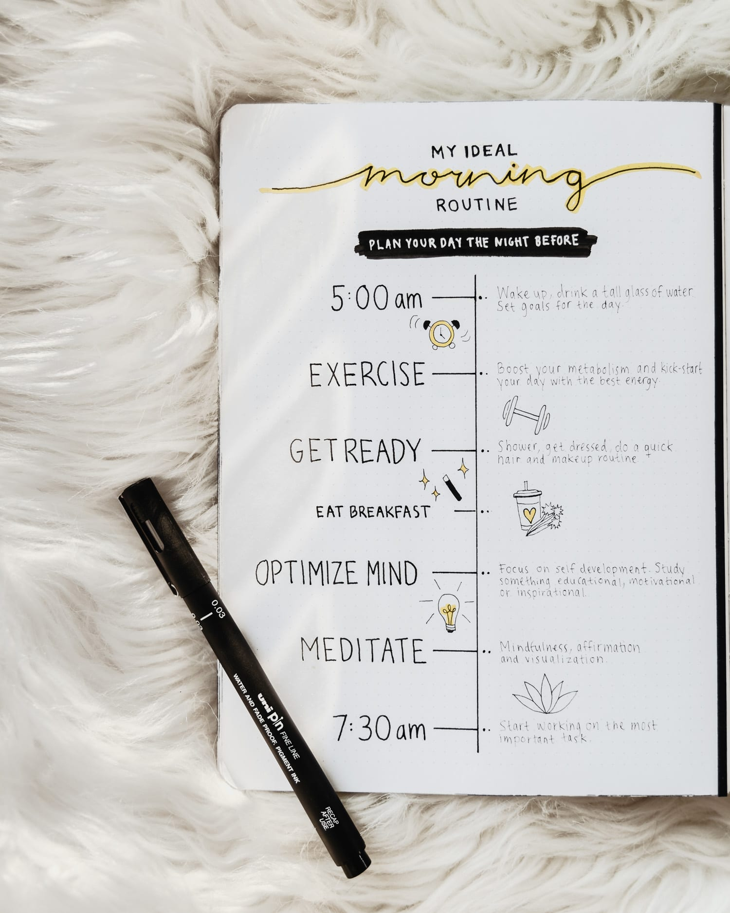 Bullet Journal - My Ideal Morning Routine |Collection Idea